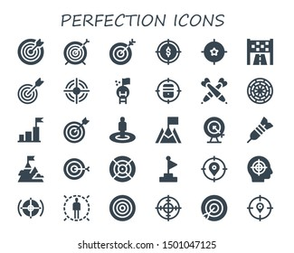 perfection icon set. 30 filled perfection icons.  Simple modern icons about  - Target, Goal, Darts, Dart board, Dart, Dartboard
