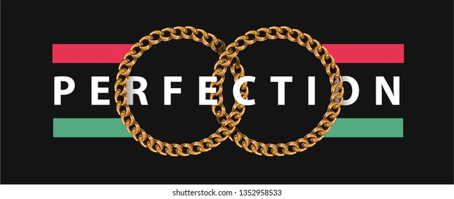 perfection slogan in golden chain lace circle illustration
