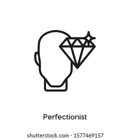perfectionist person vector line icon. Simple element illustration. Cancer icon for your design. Can be used for web and mobile.