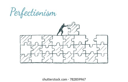 Perfectionist pushes the puzzle to its place. Vector concept illustration, hand drawn sketch. Perferctionism