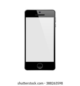 Perfectly detailed modern touch screen smartphone isolated on white background vector