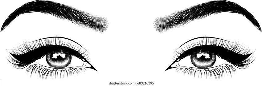 perfectly shaped eyebrows and full lashes