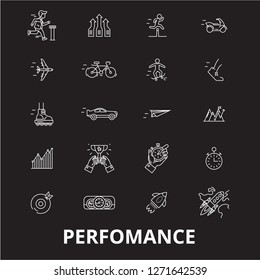 Perfomance editable line icons vector set on black background. Perfomance white outline illustrations, signs, symbols