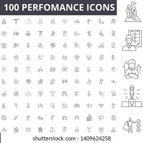 Perfomance line icons, signs, vector set, outline illustration concept