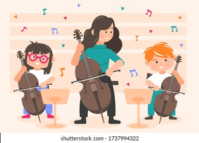 Perfomance, orchestra concept. Little happy children kids boy and girl playing cello with woman teacher on concert at theater opera. Lesson of classical music practicing in symphony band illustration.
