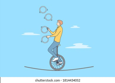 Perfomance, sport, art, acrobatics, air concept. Young professional man guy boy acrobat athlete juggler gymnast character with clubs riding unicycle on rope in circus. Active entertainment for people.