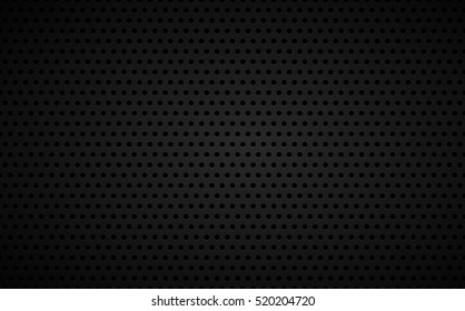 Perforated black metallic background, abstract wallpaper, vector illustration