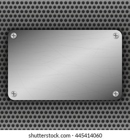 Perforated Metal Background with plate and rivets. Metallic grunge texture. Brushed Steel, iron, aluminum surface template. Abstract techno vector illustration.