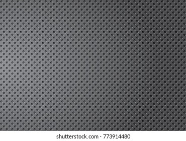 Perforated metal gradation texture, Grey perforated dot background, Metallic dotted plate ,Gray seamless background. Vector