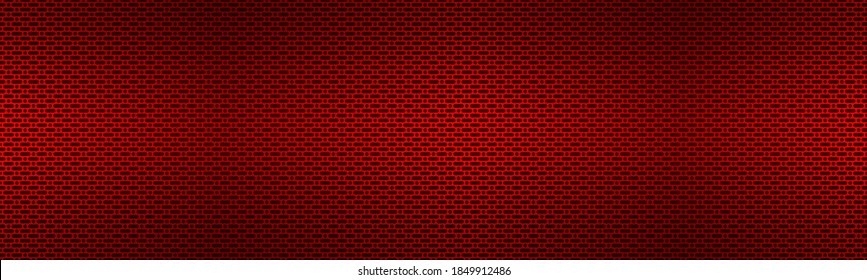 Perforated red metallic header. Metal texture banner. Simple texnology illustration. Circle, rounded rectangle and oval perforated