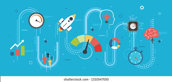 Performance and efficiency, growth in business and speed for success in startup or new business. Increase in finance. Internet banner concept in flat design vector illustration in blue background.
