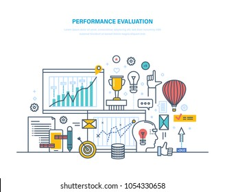 Performance evaluation working, quality control, performance productive, analysis of results, planning, approach of job, achievment success business, growth of teamwork. Illustration thin line design.
