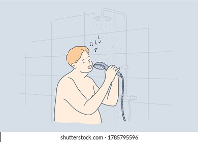 Performance, fun, music, obesity concept. Young fat obese thick man guy cartoon character standing naked in bathroom singing songs with shower head. Funny leisure recreation and carefree lifestyle.
