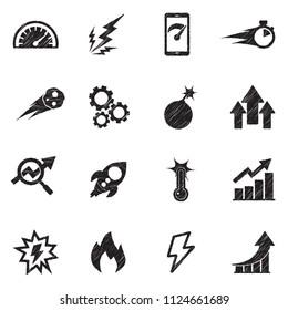 Performance Icons. Black Scribble Design. Vector Illustration.