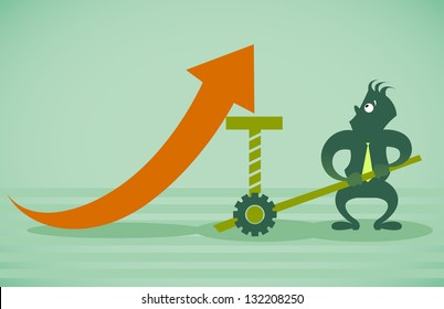 Performance improvement. Vector illustration on a background