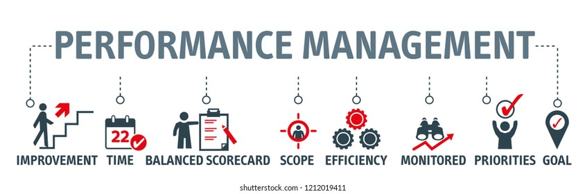 Performance management vector illustration concept - chart with keywords and icons