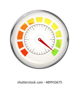 Performance measurement indicator, glossy metal speedometer icon isolated on white