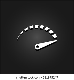 Performance measurement. White flat simple vector icon with shadow on a black background