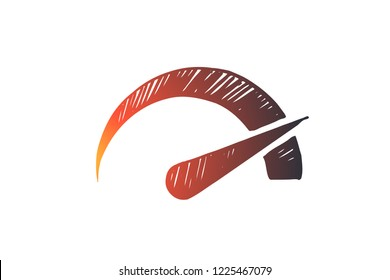 Performance, symbol, speed, indicator, power concept. Hand drawn symbol of performance measurement concept sketch. Isolated vector illustration.