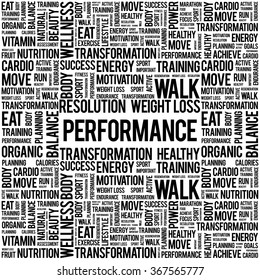 PERFORMANCE word cloud background, health concept