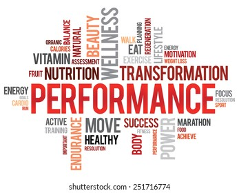 PERFORMANCE word cloud, fitness, sport, health concept