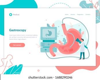 Performing a gastroscopy procedure. Web banner design template. Stomach health medical concept. Flat vector illustration.