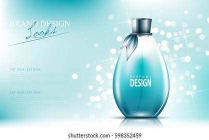 perfume ad, contained in round blue bottles, blue background vector design.