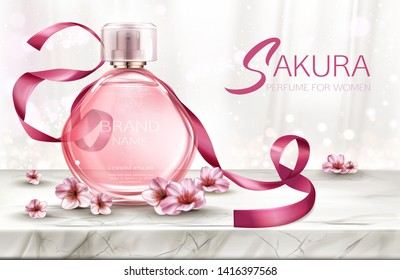 Perfume background, cosmetic product fragrance in glass bottle with lace and pink sakura flowers on marble table top with white silk curtains backdrop, poster. Realistic 3d vector illustration, banner