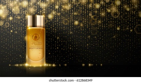 Perfume bottle ad template. Cosmetics product advertising, blur and bokeh background, sparkling effect. 3d Vector illustration.