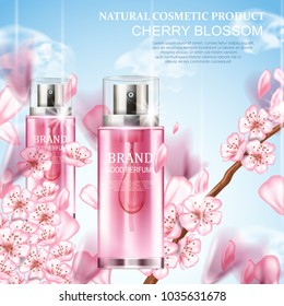 Perfume bottle and cherry blossom flowers