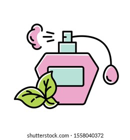Perfume bottle color icon. Paraben free natural fragrance. Botanical based scent. Personal care product. Hypoallergenic. Wild-crafted. Organic cosmetics. Isolated vector illustration