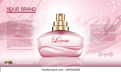 Perfume bottle Cosmetic ads template, droplet bottle mock up isolated on dazzling roses background. Place for brand text. Glamorous shinny fragrance sparkling effects. Vector illustration