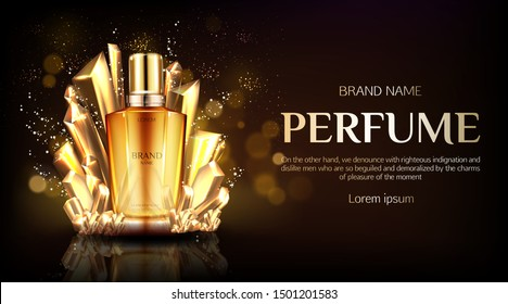 Perfume bottle with crystals on dark shining background mock up banner. Glass flask with gold liquid packaging design. Scent fragrance cosmetic beauty product promo. Realistic 3d vector illustration