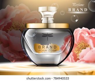 Perfume bottle delicate roses fragrance. Realistic Vector Product gold packaging design mock ups