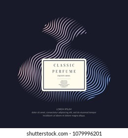 Perfume bottle with dynamic lines and waves. Bright modern poster for advertising and sale Fragrance. Vector banner.