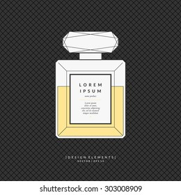Perfume bottle. Elements for design, cards, poster.