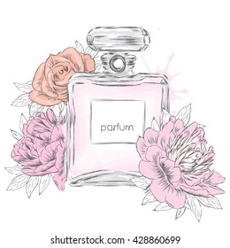 Perfume bottle and flowers. Vector .