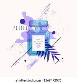 Perfume bottle with geometric pattern. Bright modern poster for advertising and sale Fragrance. Vector illustration