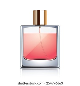 Perfume bottle isolated on white photo-realistic vector illustration
