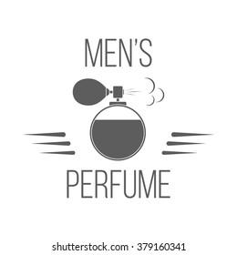 Perfume bottle logotype. Isolated badge of men's perfume on white background. Use for perfume store advertising, window signage. Men's perfume shop icon, emblem. Brutal design. Vector monochrome label