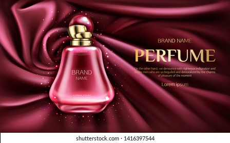 Perfume bottle on swirl velvet or silk fabric background. Glass flask with pink liquid, packaging design mock up. Women fragrance cosmetic product, promo ad banner. Realistic 3d vector illustration