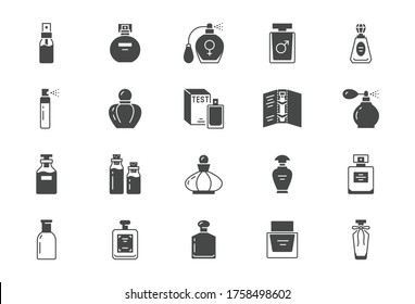 Perfume bottles flat icons. Vector illustration included icon as glass sprayer, luxury parfum sampler, essential oil, cologne parfum black silhouette pictogram for cosmetic store.