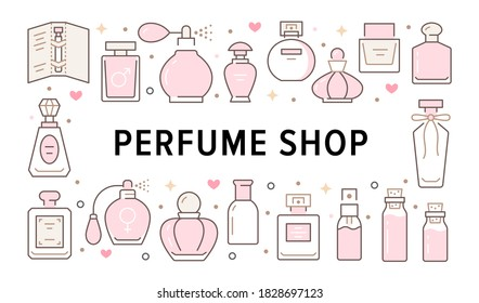 Perfume bottles horizontal poster with pink line icons. Vector horizontal illustration included icon glass sprayer, luxury parfum, essential oil, outline pictogram for cosmetic store flyer, brochure.