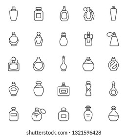 Perfume bottles, icon set. Eau de toilette. Packaging of various shapes, linear icons. Line with editable stroke