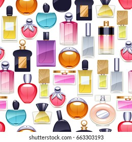 Perfume bottles icons seamless pattern. Eau de parfum background. Eau de toilette.