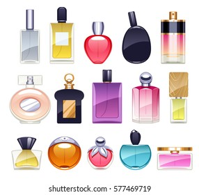 Perfume bottles icons set vector illustration. Eau de parfum. Eau de toilette.