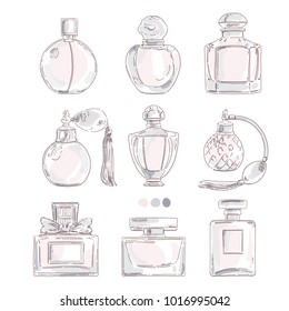 Perfume bottles isolated vector set. Sweet trendy graphic drawn in fashion beauty style illustration. Perfumery design for card, banner, print.