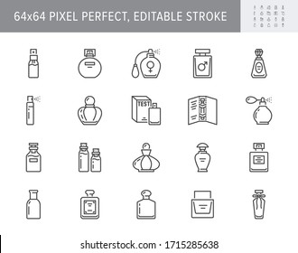 Perfume bottles line icons. Vector illustration included icon as glass sprayer, luxury parfum sampler, essential oil, cologne outline pictogram for cosmetic store. 64x64 Pixel Perfect Editable Stroke