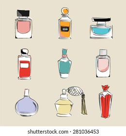perfume bottles with reflections vector