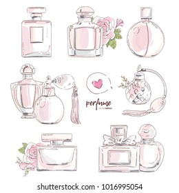 Perfume bottles with rose flower isolated vector set. Sweet trendy graphic drawn in fashion beauty style illustration. Perfumery design for card, banner, print.